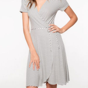 Paz Gray And White Stripe Faux Wrap Dress Everly